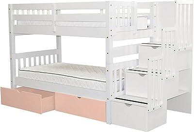Amazon Com Acme Freya White Loft Bed With Bookcase Ladder Kitchen