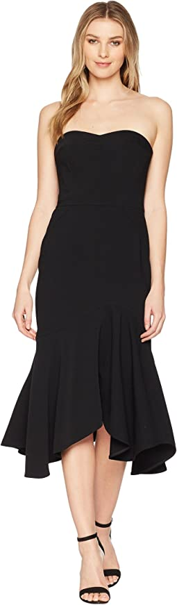 Halston Heritage Strapless Fitted Flounce Skirt Dress