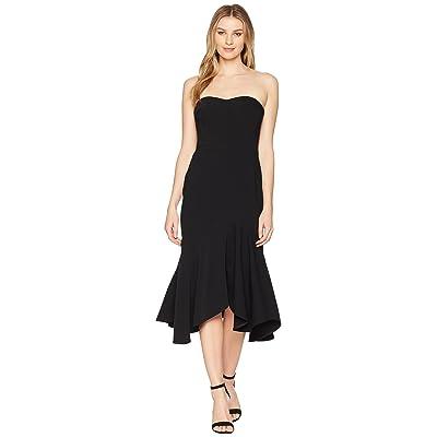 Halston Heritage Strapless Fitted Flounce Skirt Dress (Black) Women
