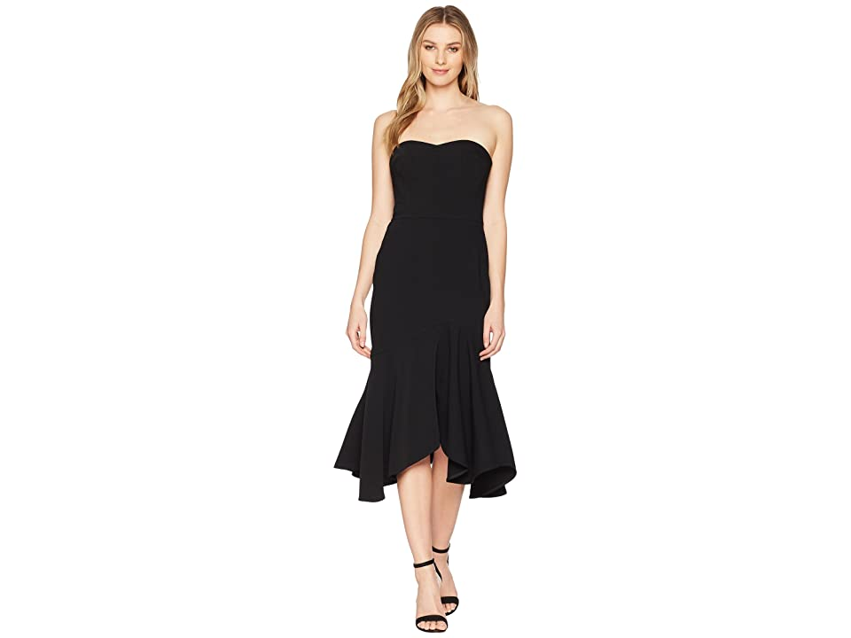 Halston Heritage Strapless Fitted Flounce Skirt Dress (Black) Women