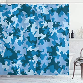 Ambesonne Camo Shower Curtain, Colorful Composition with Abstract Shapes in Blue Shades Dark and Pale Motifs, Cloth Fabric Bathroom Decor Set with Hooks, 70