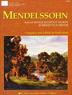 GP398 - Master Composer Library for Piano Students - Mendelssohn - Selected songs Without Words Scherzo In E Minor