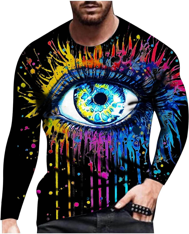 Bravetoshop 3D Printed T-Shirt for Men, Men's Novelty Graphic Crewneck Tee Shirts Street Fashion Long Sleeve Tops