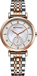 Betfeedo Women's Pearl Shell Dial Watch with Stainless Steel Strap