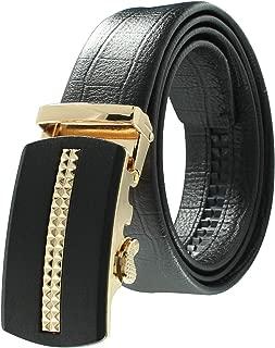 JINIU Men's Belt- Leather Rachet Dress Black Belts With Automatic Buckle - Enclosed in an Elegant Gift Box