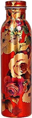 K K Traders Printed Flower Design Copper Bottle for Water Storage, 100 ml, Red
