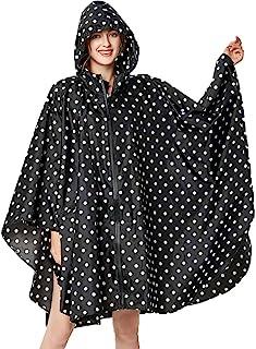 Rain Poncho for Women Adults Hooded Jacket Waterproof Reusable Hiking Rain Coat with Pockets