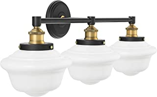 Lavagna 3 Light Bathroom Vanity Black with Milk Glass Linea di Liara LL-WL273-MILK-AB
