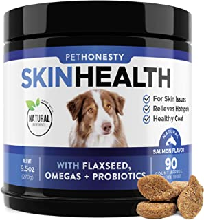 PetHonesty SkinHealth Supplement - Fish Oil for Dogs with Omegas, DHAGold, Flaxseed, Probiotics for Itch-Free Skin, Shiny Coats, Hotspots, Reduce Shedding - Soft Chews for Healthy Skin & Coat - 90 ct