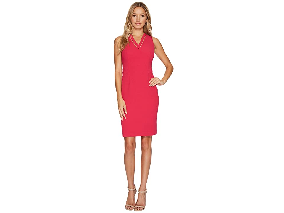 Adrianna Papell Cut Out Neckline Seamed Sheath Dress (Strawberry) Women