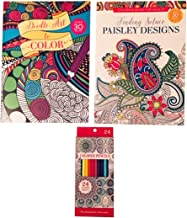 2 Adult Coloring Books, Finding Solace, Paisley Designs, Doodle Art to Color with 24 Colored Pencils Bundle- 3 Items