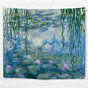 IcosaMro Lotus Tapestry Wall Hanging Monet Water Lilies Flowers Floral Wall Art with Hemmed Edges, Wall Blanket Home Decor for Bedroom College Dorm, Blue, 60x82.7 Inches