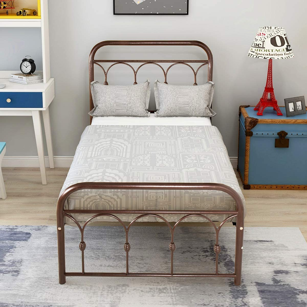 DUMEE Metal Bed Frame Queen Size Platform with Vintage Headboard and Footboard Sturdy Metal Frame Premium Steel Slat Support,Antique Brown