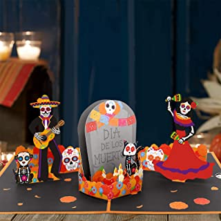 Day of the Dead Pop Up Card Día de los Muertos 3D Card Sugar Skull Gift Card Fiesta Greeting Card with Envelope For Mexica...