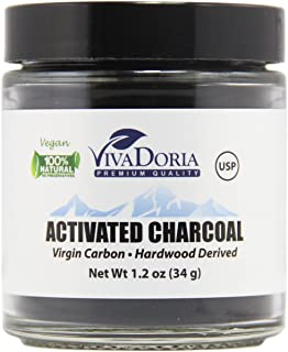 Viva Doria Virgin Activated Charcoal Powder - Food Grade (1.2 oz Glass jar)