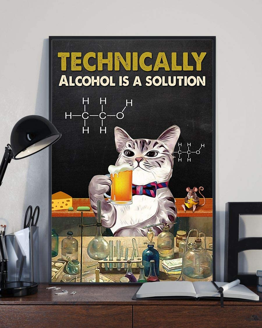 Now on sale Dzeetee Techinically Alcohol is a Solution cat Poster and Ranking TOP4 Beer
