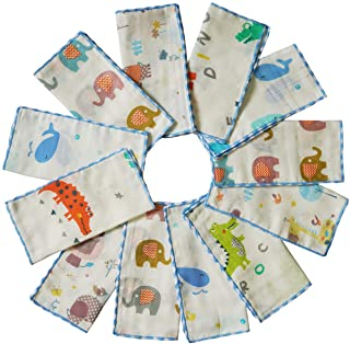 Omilion Muslin Baby Washcloths Set(12-Pack),Natural 4-Layer Cotton Infant Bath Towel with Cartoon Design,Soft Toddler Face Towel Gift Registry Newborn Baby Shower,9x9 Inches,Animal World