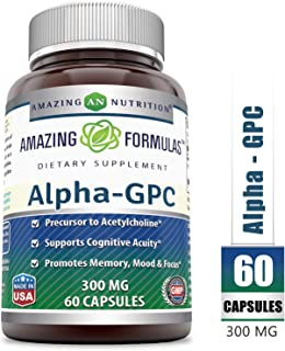 Amazing Formulas - Alpha-GPC Dietary Supplement - 300 Milligrams - 60 Capsules (Non-GMO) - Promotes Positive Mood, Better Concentration and Memory * - Supports Acetylcholine Function *