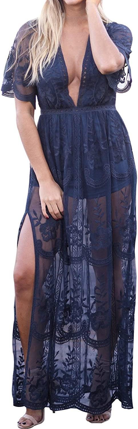 Eleter Women's Deep VNeck Lace Romper Short Sleeve Long Dress