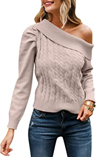 Zandiceno Women's Sexy Puff One Shoulder Cable Knit Sweater Asymmetrical Fitted Sweaters