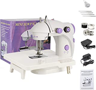 Mini Sewing Machine with Extension Table Portable Sewing Machine for Beginner Electric Sewing Machine with Dual Speed Doub...