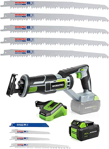 discount WORKPRO Cordless Reciprocating Saw, 20V 4.0Ah Battery&5-Piece 9-Inch discount Wood Pruning Reciprocating Saw Blade popular Set online
