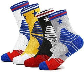 NANOOER 4 Pack Mens Basketball Socks Cushion Athletic Long Sports Outdoor Socks Compression Sock 6.5-11.5
