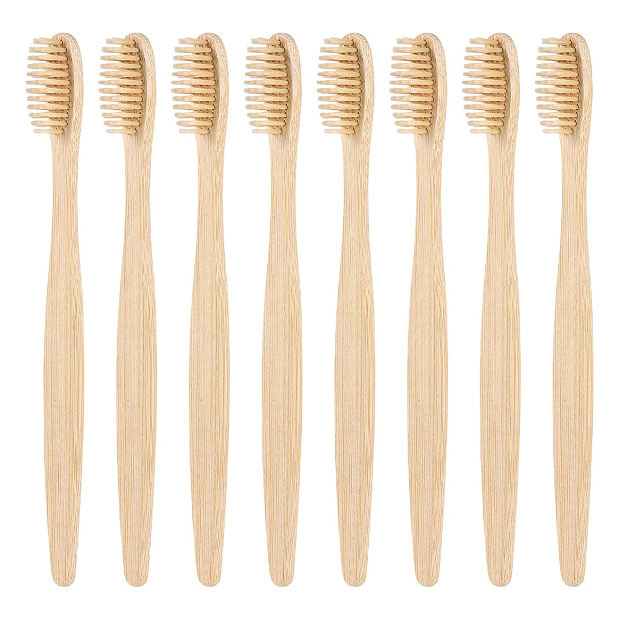 敵本会議成熟したHealifty 柔らかい剛毛8PCSが付いている環境に優しいタケ歯ブラシの自然な木の環境に優しい歯ブラシ