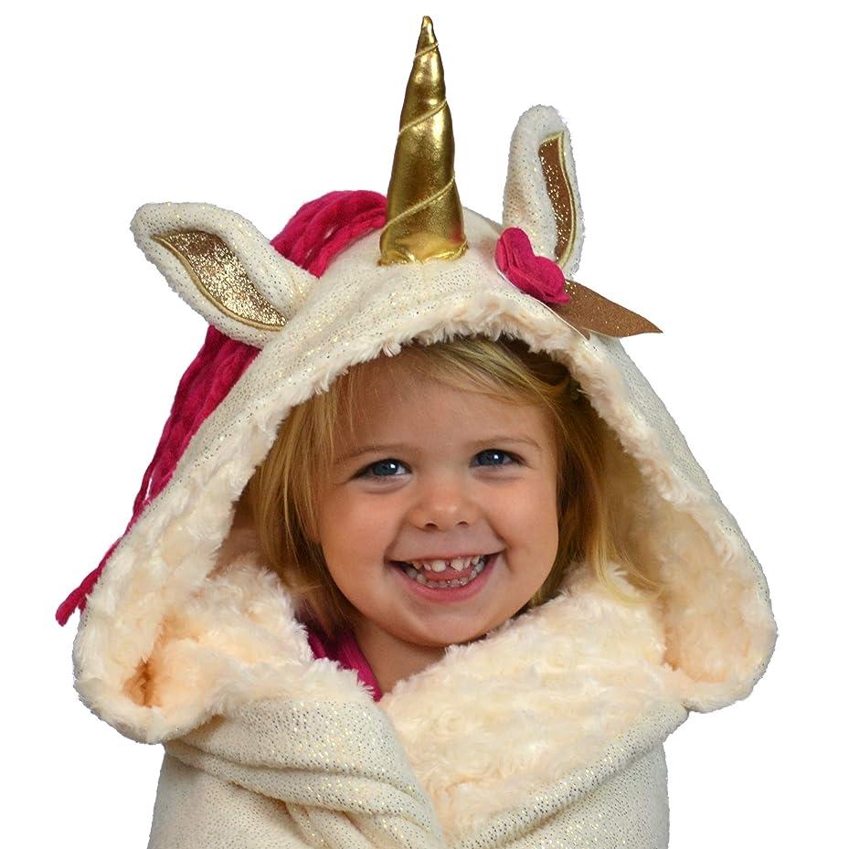 内向き平均スライムフード付きユニコーンスローブランケット すべての年齢の小さな女の子に最適 – L 66 x 42サイズ 子供 ツイーン 大人 女性 ゴールドホーン ピンクマーン ソフト キラキラ フリース ファジーミンク ルビーラップ