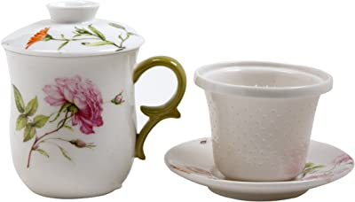 Gracie China by Coastline Imports 4-Piece Tea for Me Set, Dahlia Green by Gracie China by Coastline Imports