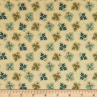 Andover 0573991 Maling Road Oak Leaves Brown/Teal Fabric by The Yard