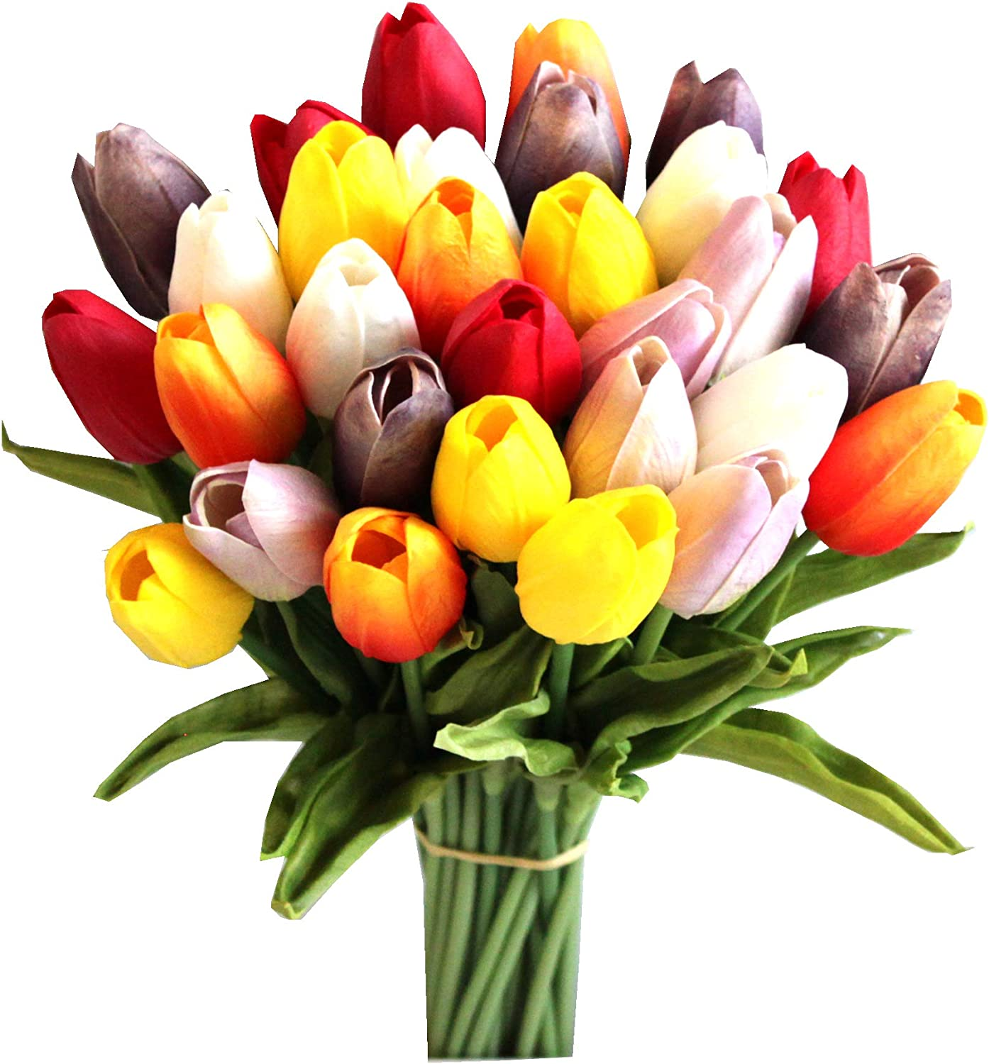 Mandy's 28pcs Super popular specialty store Multicolor OFFicial store Artificial Tulip Flowers for Silk 13.5