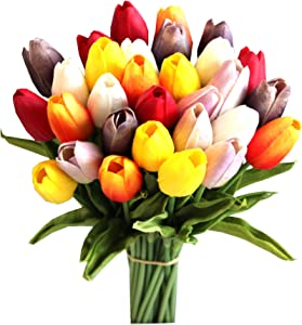 """Mandy's 30pcs Multicolor 14"""" Artificial Tulips Flowers for Wedding Party Home Decoration (vase not Include)"""