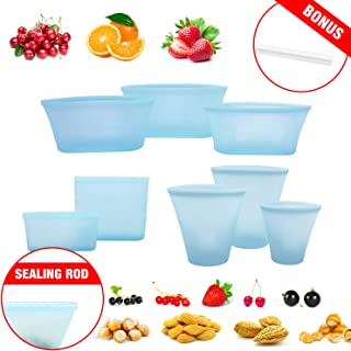 8 Pack Reusable Silicone Food Bag Zip Lock Containers, BPA Free Leakproof Cup Pattern Dishes Storage Bags for Fruit / Snack / Vegetables, Microwave Dishwasher & Freezer Safe, (Blue)