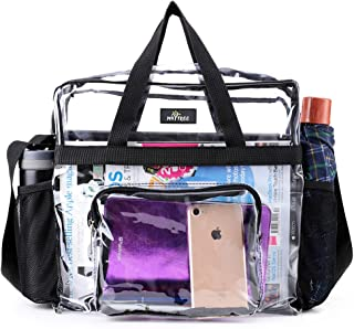 Clear Bag Stadium Approved, Waterproof Roomy and Two Water Bottle Holders, Transparent Tote Bag and Gym Clear Bag, See Through Tote Bag for Work, Sports Games and Concerts-12 x12 x6