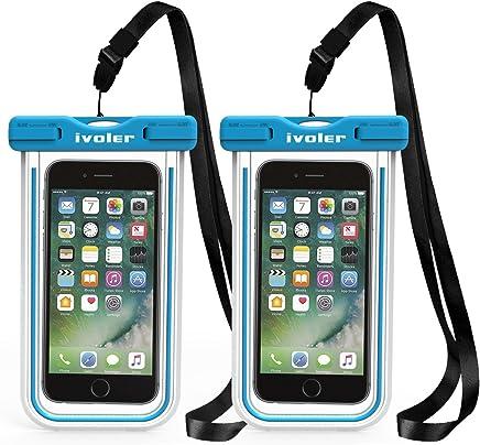 iVoler [2 Pezzi] Custodia Impermeabile Smartphone, IPX8 Borsa Impermeabile Sacchetto Impermeabile Cellulare Dry Bag Universale Waterproof Cover Case per iPhone, Samsung, Huawei, ECC. (Blu+Blu)