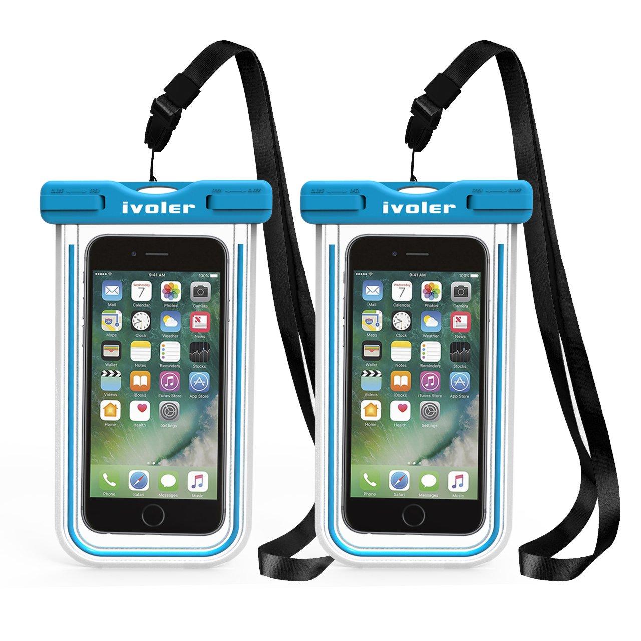 ivoler [IPX8 Certificado] [2 Unidades] Funda Bolsa Móvil Impermeable Universal para Xiaomi, iPhone, Samsung Galaxy, Huawei, Smartphones, Monedas, Pasaporte, etc. (Azul+Azul): Amazon.es: Electrónica