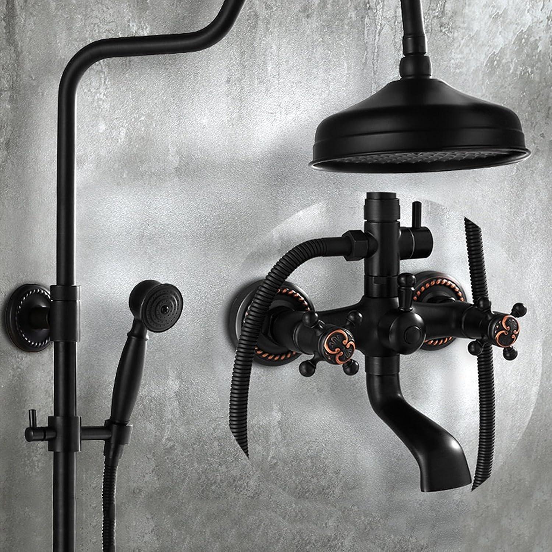Cqq Bathroom shower Black shower Device Leading Pressurized Bathroom full copper Imitation ancient shower set take a shower Device European style
