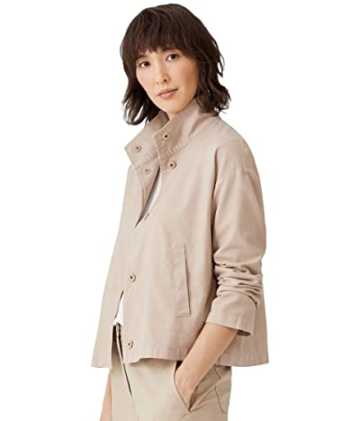 Eileen Fisher Organic Cotton Hemp Stretch Stand Collar Jacket (Khaki) Women