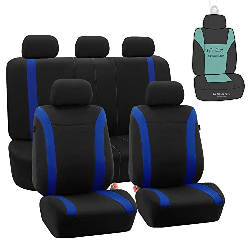 BLUE WOVEN FABRIC MINI COUNTRYMAN FRONT /& REAR CAR SEAT COVER SET