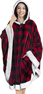PAVILIA Angel Wrap   Blanket Poncho Wrap with Soft Sherpa Fleece   Plush, Warm Wearable Hooded Throw with Pockets for Wome...