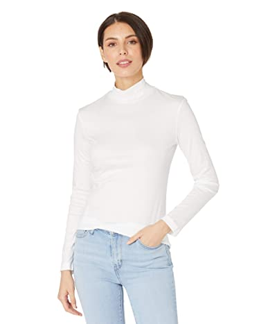 Lacoste Long Sleeve Solid Color Turtleneck Tee (White) Women