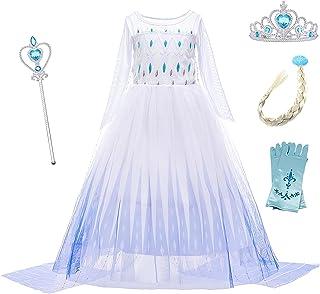 O.AMBW Elsa Disfraz niña Princesa Vestido Nieve Reina 2 Vestir Halloween Navidad Carnaval Fiesta cumpleaños Mascarada pelí...