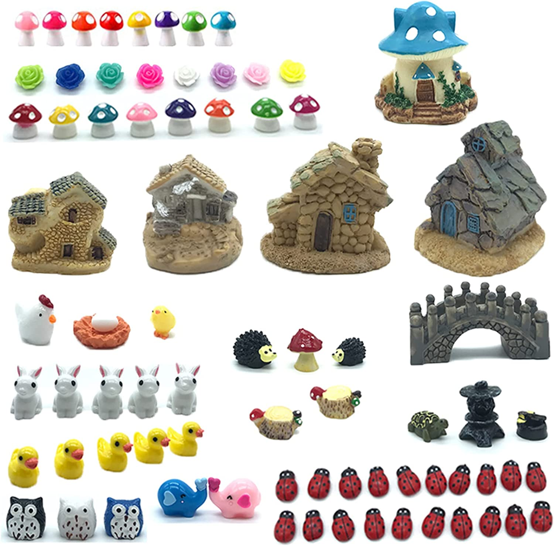 77 Pieces Miniature Fairy Garden Accessories, Including Miniature Fairy Garden House,Fairy Garden Animals, Miniature Figurines, Micro Landscape Ornaments Kit, Garden DIY Terrarium Kit