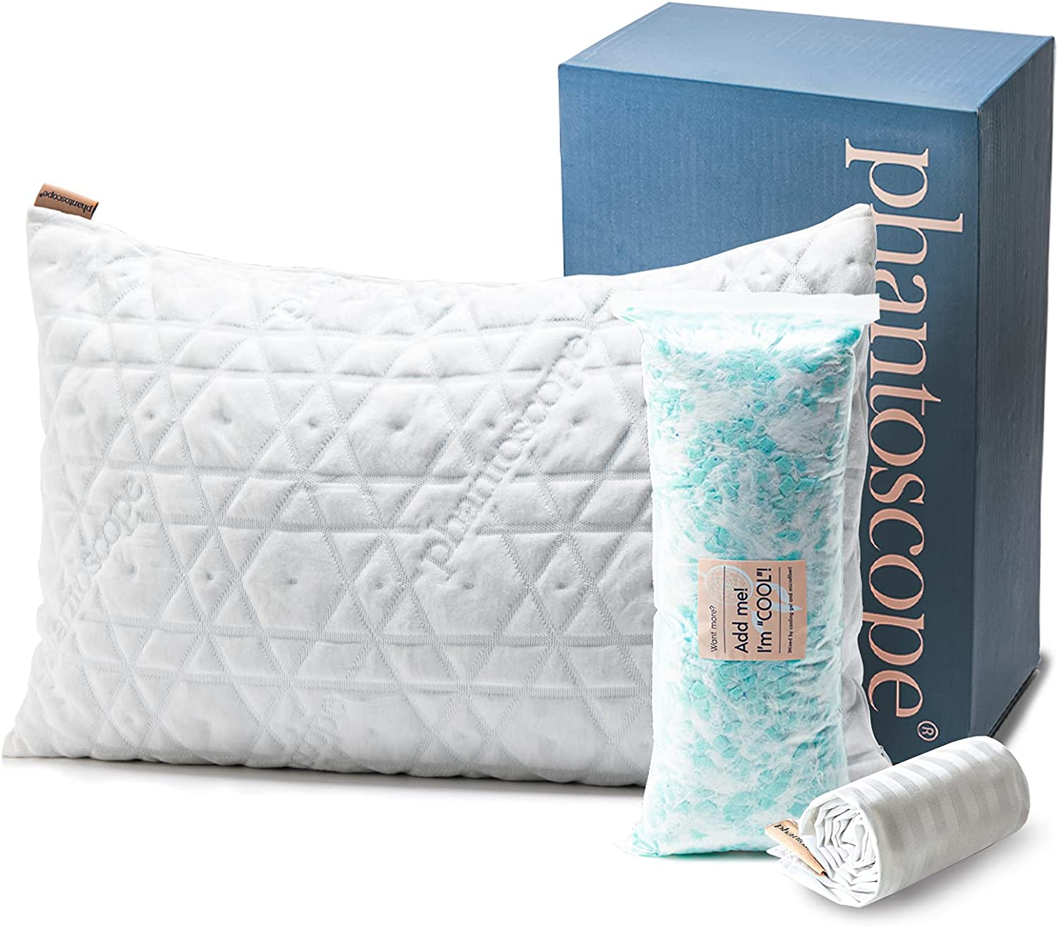 Phantoscope Shredded Memory Foam Pillow - Adjustable Cooling Pillow for Sleeping - Hypoallergenic Bed Pillow with Bamboo Cover for Side, Back, Stomach Sleepers , Queen Size
