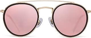 Round Polarized Sunglasses Metal Frame Flat Circle lens Glasses Men Women