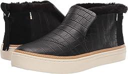 Black Croc Emboss Leather/Faux Fur