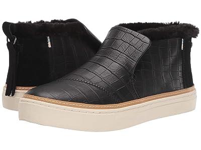 TOMS Paxton (Black Croc Emboss Leather/Faux Fur) Women