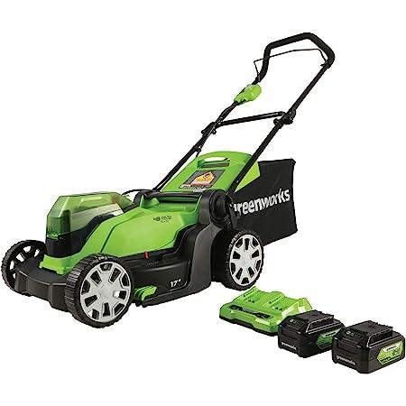 Greenworks 2 x 24V (48V) 17-Inch Cordless Lawn Mower, (2) 4.0Ah USB Batteries (USB Hub) and Dual Port Rapid Charger, MO48BB2210