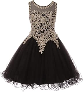 acc1bc0ec0 Cinderella Couture Big Girls Black Gold Coiled Lace Studded Illusion Junior  Bridesmaid Dress 8-16